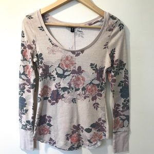 BDG Floral Long Sleeved Waffle T-shirt  Pink/Tan M